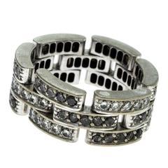 Cartier Maillon Panthère Black and White 3 Diamond Paved Rows Diamond Gold Ring