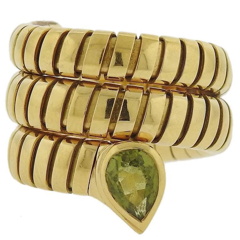 Bulgari Tubogas Gold Peridot Wrap Ring