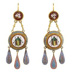 Antique Gold Scarab Motif Micromosaic Earrings with Vatican Marks