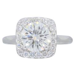 GIA Certified 1.27 Carat Halo Style Diamond white gold Engagement Ring