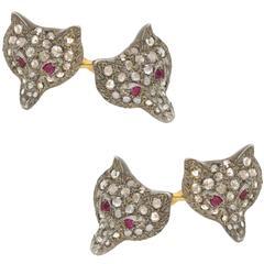 Victorian Fox Head Cufflinks Set with Diamond