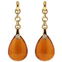 Madeira Citrine Diamond Yellow Gold Drop Earrings