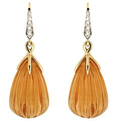 Valentin Magro Carved Citrine Diamond Yellow Gold Drop Earrings