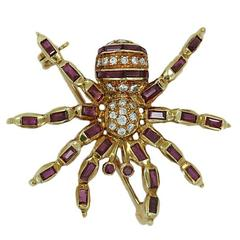 Ruby Diamond Yellow Gold Spider Pin