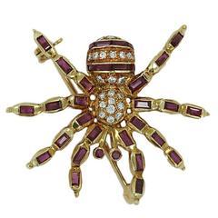 Ruby Diamond Yellow Gold Spider Pin
