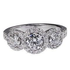 Three-Stone Diamond Halo White Gold Engagement Ring
