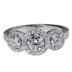 Three-Stone Diamond Halo White Gold Engagement Ring