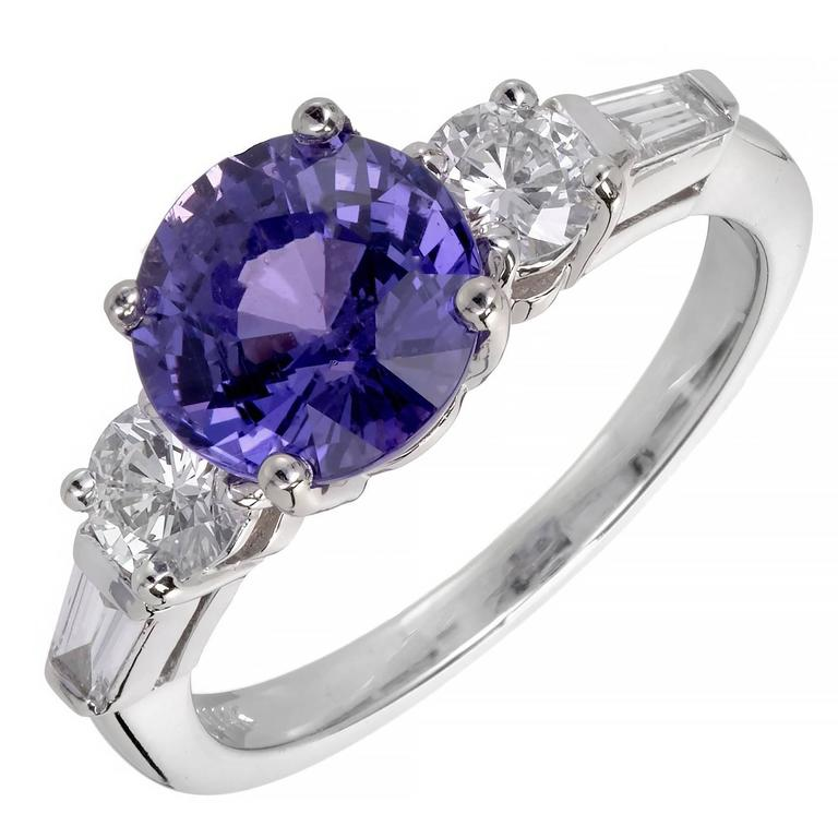 Peter Suchy 3.18 Carat Natural Purple Sapphire Diamond Gold Engagement Ring