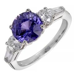 Peter Suchy 3.18 Carat Natural Purple Sapphire Diamond Gold Engagement Ring