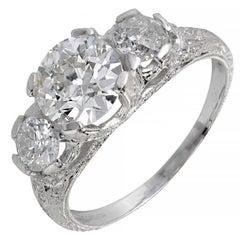 Peter Suchy 1.58 Carat Diamond Three-Stone Platinum Engagement Ring