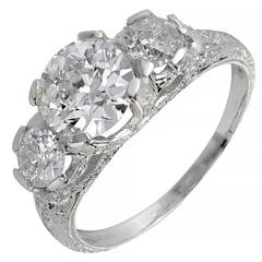 Peter Suchy 1.58 Carat Diamond Three-Stone Platinum Engagement Ring