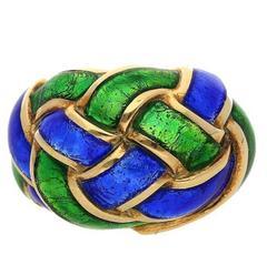 Tiffany & Co. Schlumberger Enamel Yellow Gold Ring