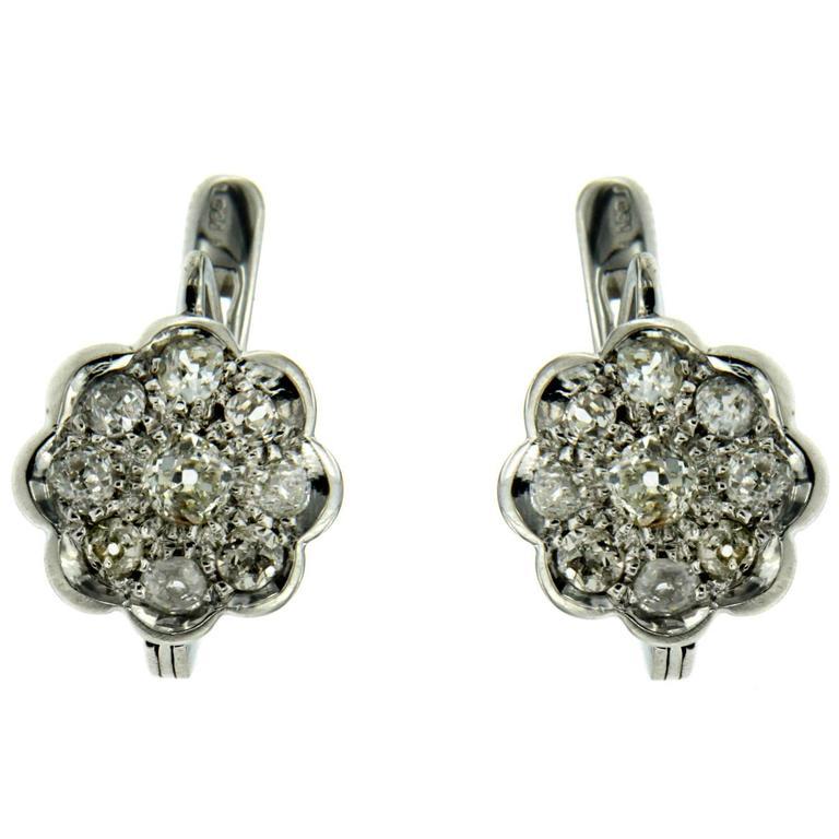 Diamond Gold Cluster Earrings