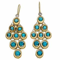 Natural Turquoise Diamond Gold Dangle Earrings