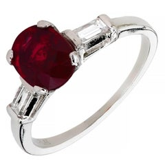 Mid-Century 1.63 Carat Ruby Diamond Three-Stone Platinum Engagement Ring