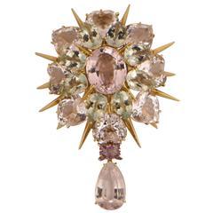 Exquisite Tony Duquette Kunzite Amethyst Gold Brooch Pin