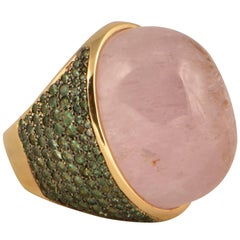 125 Carat Kunzite Tsavorite Tony Duquette Gold Ring