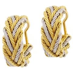 Buccellati Braided White and Yellow Gold Hoop Earrings