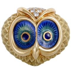 Diamond and Enameled Yellow Gold Owl Ring