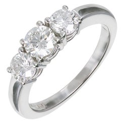 EGL Certified 1.06 Carat Diamond Three-Stone Gold Engagement Ring