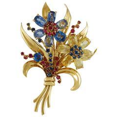 Van Cleef & Arpels Sapphire Ruby Gold Brooch