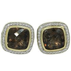 David Yurman Smokey Quartz Diamond Silver Yellow Gold Earrings