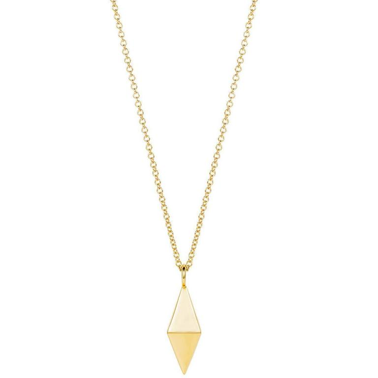 Geometric Double Pyramid Gold Necklace