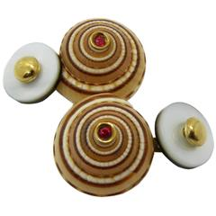 Architectonica Jutea Seashell Spinel White Grey Mother-of-Pearl Gold Cufflinks