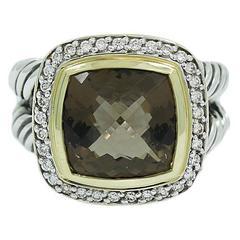 David Yurman Smokey Quartz Diamonds Silver Yellow Gold Ring