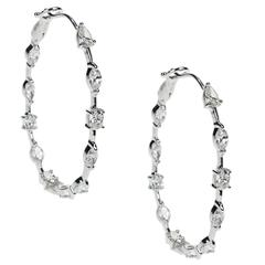 Diamond Hoop Earrings in 18 Karat White Gold