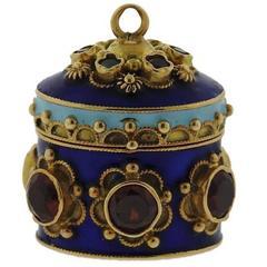 Antique Gold Multi Gemstone Enamel Charm Locket Pendant