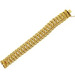 1960s Buccellati Wide Textured Gold Bracelet
