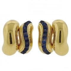 Seaman Schepps Sugarloaf Sapphire Gold Earrings
