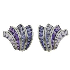 Seaman Schepps Iolite Amethyst Gold Fan Earrings