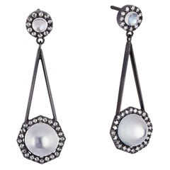 Cushla Whiting 3.59 Carat Moonstone and Diamond Gold Earrings