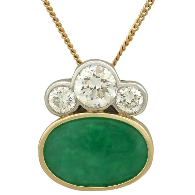 1980s 4.05 Carat Nephrite Jade and Diamond Yellow and White Gold Pendant