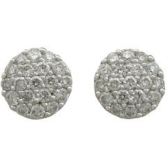 1990s Diamond and 18 Karat White Gold Stud Earrings