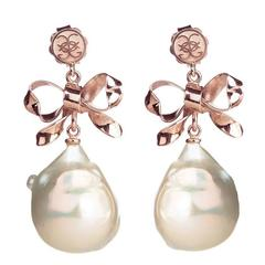 CdG Style Unique Rose Gold Bow Pearl Earrings Handmade in Italy