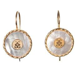 CdG Style White Mother-of-Pearl Gold Hook Earrings