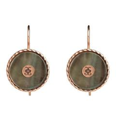 CdG Style Rose Gold Black Mother-of-Pearl Earrings Made in Italy