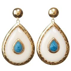 CdG Style Gold Drop Earrings Carved Turquoise Nut Ivory Made in Italy