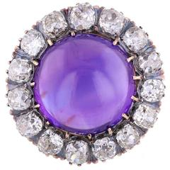 Antique Victorian Amethyst Cushion Cut Diamond Round Brooch