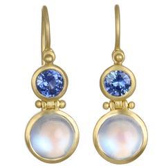 Faye Kim Moonstone Blue Sapphire Gold Double Hinge Earrings