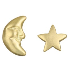 Faye Kim 18k Gold Moon and Star Stud Earrings