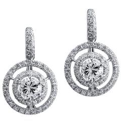 H and H 1.83 Carat Diamond White Gold Earrings