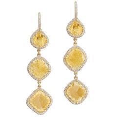 H & H 4.39 Carat Fancy Intense Yellow Multi-Slice Dangle Earrings