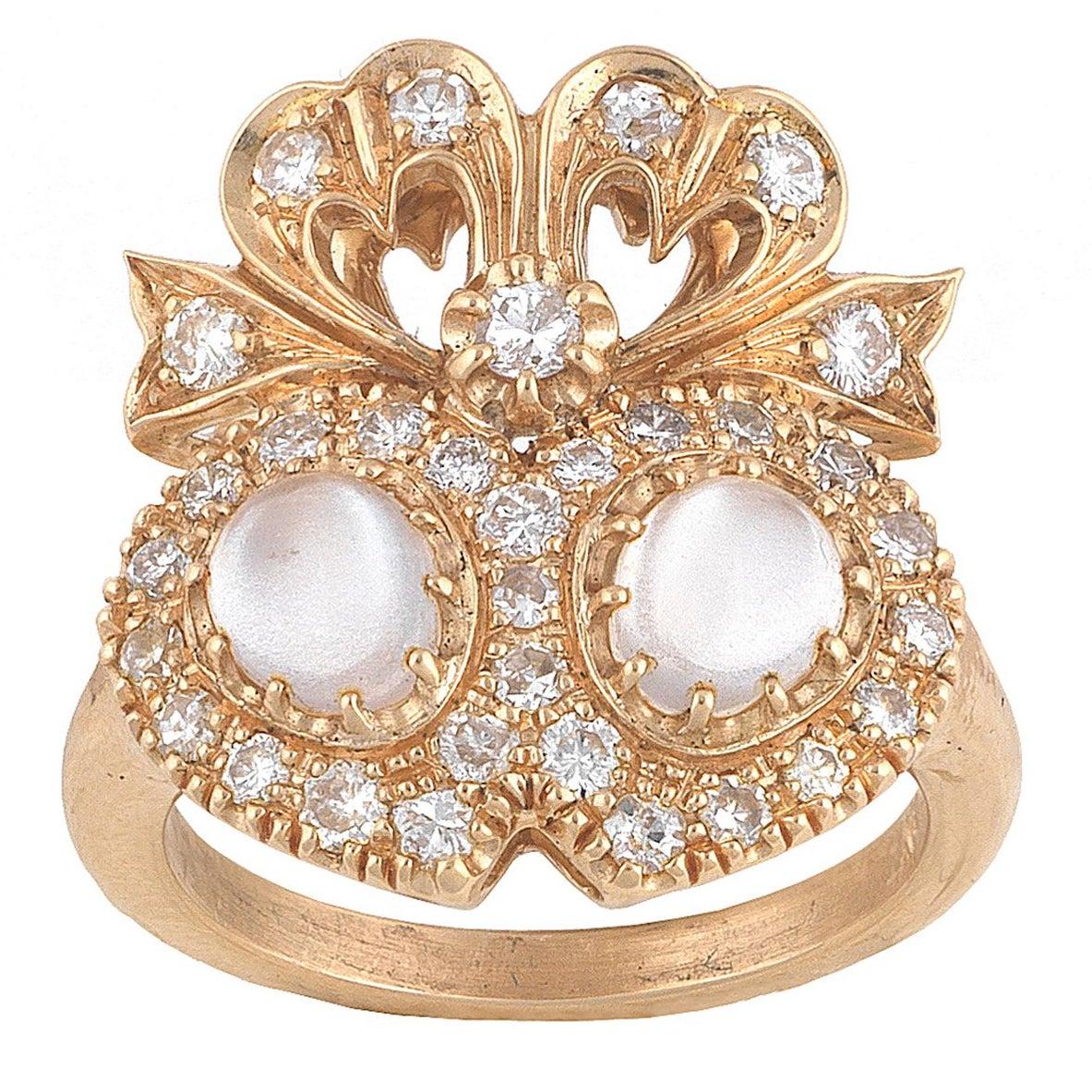 Moonstone Diamond Twin Heart Ring