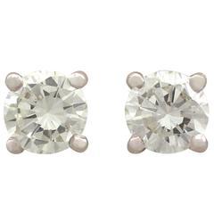 1990s 2.05 Carat Diamond White Gold Stud Earrings