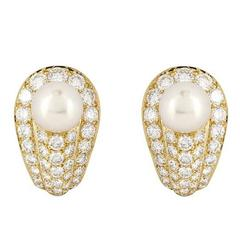 Cartier Pearl Diamond gold Earrings