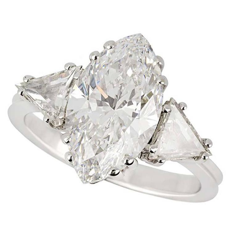 GIA Certified 3.42 Carat Marquise Diamond white gold Ring